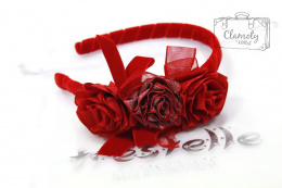 BEAUTIFUL RED HEADBAND THREE ROSES